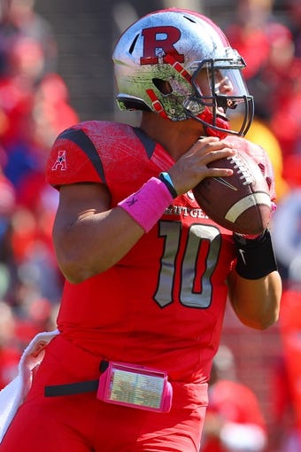 Oct 26, 2013; Piscataway, NJ, USA; Rutgers Scarlet Knights quarterback Gary Nova (10) looks to pass during the first half of their game against the Houston Cougars at High Point Solutions Stadium. Mandatory Credit: Ed Mulholland-USA TODAY Sports