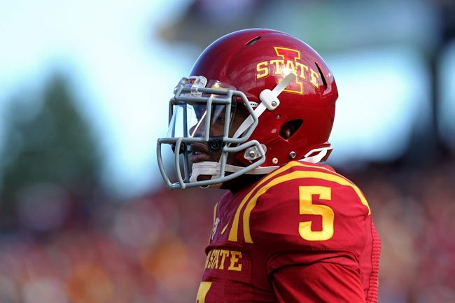 Oct 26, 2013; Ames, IA, USA; Iowa State Cyclones defensive back Jacques Washington (5) looks on during the first quarter against the Oklahoma State Cowboys at Jack Trice Stadium. Oklahoma State defeated Iowa State 58-27. Mandatory Credit: Brace Hemmelgarn-USA TODAY Sports