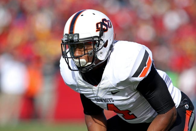 Oct 26, 2013; Ames, IA, USA; Oklahoma State Cowboys cornerback Justin Gilbert (4) looks on during the first quarter against the Iowa State Cyclones at Jack Trice Stadium. Oklahoma State defeated Iowa State 58-27. Mandatory Credit: Brace Hemmelgarn-USA TODAY Sports