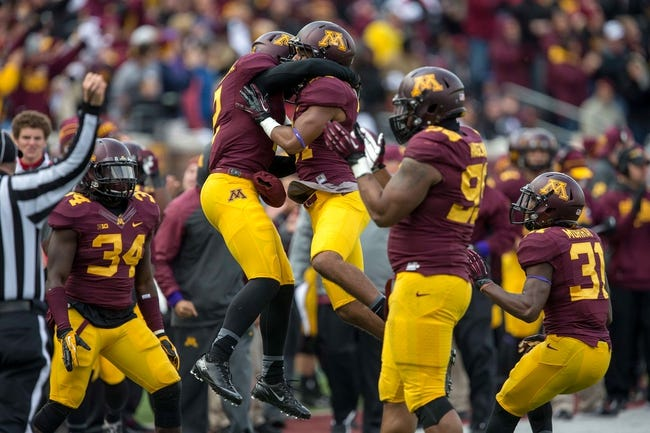 Oct 26, 2013; Minneapolis, MN, USA; Minnesota Golden Gophers defensive back Cedric Thompson (2) and Minnesota Golden Gophers defensive back Brock Vereen (21) celebrate after making a tackle in the second half against the Nebraska Cornhuskers at TCF Bank Stadium. The Gophers won 34-23. Mandatory Credit: Jesse Johnson-USA TODAY Sports
