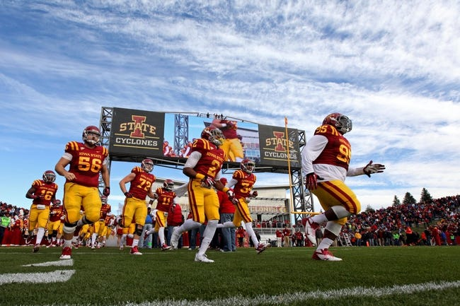 Oct 26, 2013; Ames, IA, USA; The Iowa State Cyclones take the field prior to the game against the Oklahoma State Cowboys at Jack Trice Stadium. Oklahoma State defeated Iowa State 58-27. Mandatory Credit: Brace Hemmelgarn-USA TODAY Sports