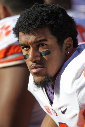 Oct 26, 2013; College Park, MD, USA; Clemson Tigers defensive end Vic Beasley (3) watches from the sidelines during the game against the Maryland Terrapins at Byrd Stadium. Mandatory Credit: Mitch Stringer-USA TODAY Sports