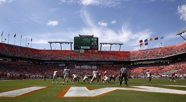 Oct 26, 2013; Miami Gardens, FL, USA;  A general view of Sun Life Stadium in the second half of a game between Wake Forest Demon Deacons and Miami Hurricanes. Miami won 24-21. Mandatory Credit: Robert Mayer-USA TODAY Sports