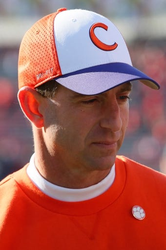 Oct 26, 2013; College Park, MD, USA; Clemson Tigers  head coach Dabo Sweeny prior to the game against the Maryland Terrapins at Byrd Stadium. Mandatory Credit: Mitch Stringer-USA TODAY Sports