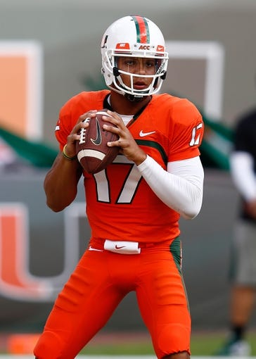 Oct 26, 2013; Miami Gardens, FL, USA; Miami Hurricanes quarterback Stephen Morris (17) before a game against the Wake Forest Demon Deacons at Sun Life Stadium. Mandatory Credit: Robert Mayer-USA TODAY Sports