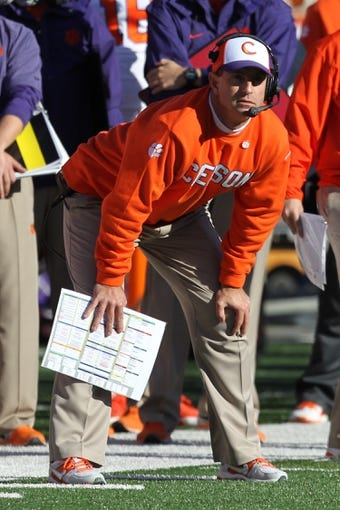 Oct 26, 2013; College Park, MD, USA; Clemson Tigers head coach Dabo Sweeny watches a field goal attempt during the game against the Maryland Terrapins at Byrd Stadium. Mandatory Credit: Mitch Stringer-USA TODAY Sports