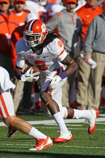 Oct 26, 2013; College Park, MD, USA; Clemson Tigers  wide receiver Sammy Watkins (2) runs after his first half catch against the Maryland Terrapins at Byrd Stadium. Mandatory Credit: Mitch Stringer-USA TODAY Sports