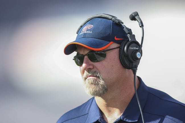 Oct 26, 2013; Houston, TX, USA; UTEP Miners head coach Sean Kugler watches from the sideline during the second quarter against the Rice Owls at Rice Stadium. Mandatory Credit: Troy Taormina-USA TODAY Sports