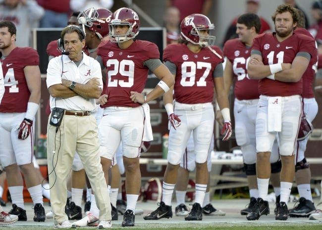 Oct 26, 2013; Tuscaloosa, AL, USA; Alabama Crimson Tide head coach Nick Saban looks on from the sidelines against the Tennessee Volunteers during the fourth quarter at Bryant-Denny Stadium. Mandatory Credit: John David Mercer-USA TODAY Sports