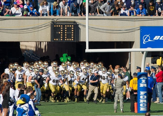 Oct 26, 2013; Colorado Springs, CO, USA; The Notre Dame Fighting Irish take the field before the game against the Air Force Falcons at Falcon Stadium. Notre Dame won 45-10. Mandatory Credit: Matt Cashore-USA TODAY Sports