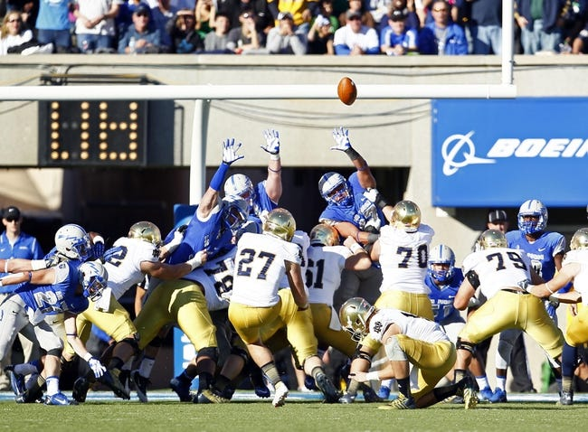 Oct 26, 2013; Colorado Springs, CO, USA; The Air Force Falcons attempt to block the kick of Notre Dame Fighting Irish kicker Kyle Brindza (27) in the second quarter at Falcon Stadium. Mandatory Credit: Isaiah J. Downing-USA TODAY Sports