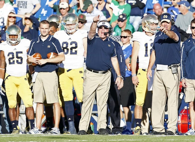 Oct 26, 2013; Colorado Springs, CO, USA; Notre Dame Fighting Irish head coach Brian Kelly reacts to a play in the second quarter against the Air Force Falcons at Falcon Stadium. Mandatory Credit: Isaiah J. Downing-USA TODAY Sports
