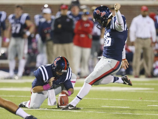 Oct 26, 2013; Oxford, MS, USA; Mississippi Rebels kicker Andrew Ritter (96) kicks a field goal against the Idaho Vandals at Vaught-Hemingway Stadium. Mandatory Credit: Spruce Derden-USA TODAY Sports