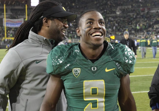 Oct 26, 2013; Eugene, OR, USA; Oregon Ducks running back Byron Marshall (9) after the game against the UCLA Bruins at Autzen Stadium. Mandatory Credit: Scott Olmos-USA TODAY Sports