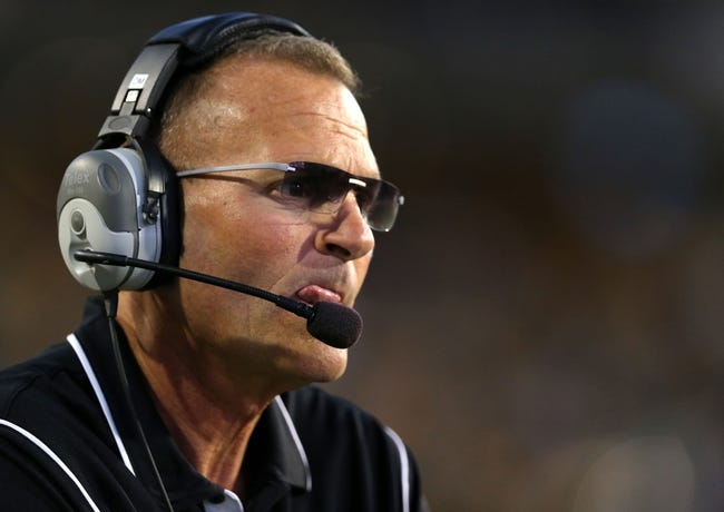 Oct 26, 2013; Hattiesburg, MS, USA; North Texas Mean Green head coach Dan McCarney watches from the sidelines against the Southern Miss Golden Eagles in the first quarter at M.M. Roberts Stadium. North Texas won 55-14. Mandatory Credit: Chuck Cook-USA TODAY Sports
