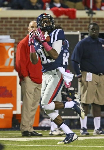 Oct 26, 2013; Oxford, MS, USA;  Mississippi Rebels wide receiver Ja-Mes Logan (85) makes a reception during the game against the Idaho Vandals at Vaught-Hemingway Stadium. Mississippi Rebels win the game against the Idaho Vandals with a score of 59-14.  Mandatory Credit: Spruce Derden-USA TODAY Sports