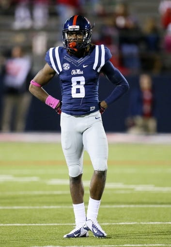 Oct 26, 2013; Oxford, MS, USA;  Mississippi Rebels wide receiver Quincy Adeboyejo (8) during the game against the Idaho Vandals at Vaught-Hemingway Stadium. Mississippi Rebels win the game against the Idaho Vandals with a score of 59-14.  Mandatory Credit: Spruce Derden-USA TODAY Sports