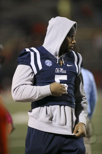 Oct 26, 2013; Oxford, MS, USA;  Mississippi Rebels defensive end Robert Nkemdiche (5) on the sidelines during the game against the Idaho Vandals at Vaught-Hemingway Stadium. Mississippi Rebels win the game against the Idaho Vandals with a score of 59-14.  Mandatory Credit: Spruce Derden-USA TODAY Sports