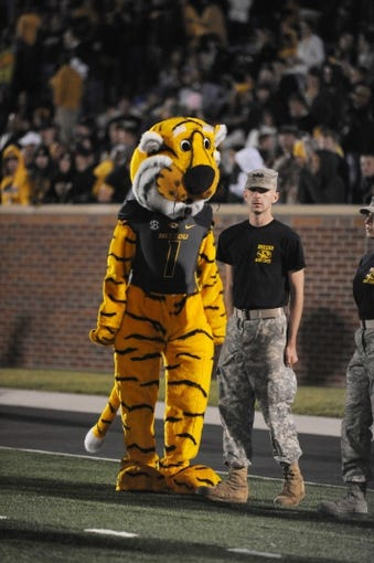 Oct 26, 2013; Columbia, MO, USA; The Missouri Tigers mascot performs for the crowd during the second half of the game against the South Carolina Gamecocks at Faurot Field. South Carolina won 27-24. Mandatory Credit: Denny Medley-USA TODAY Sports