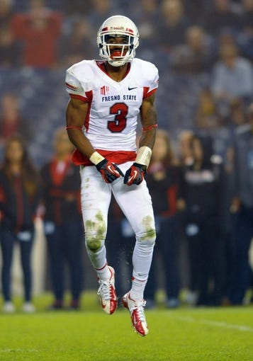 Oct 26, 2013; San Diego, CA, USA; Fresno State Bulldogs wide receiver Josh Harper (3) celebrates after a reception during the second half against San Diego State Aztecs at Qualcomm Stadium. Mandatory Credit: Christopher Hanewinckel-USA TODAY Sports