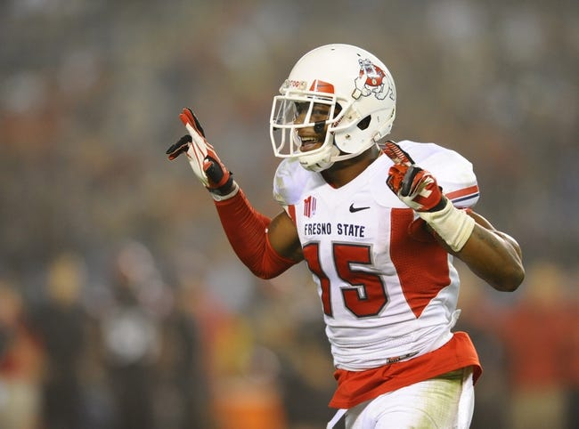 Oct 26, 2013; San Diego, CA, USA; Fresno State Bulldogs wide receiver Davante Adams (15) celebrates after catching a touchdown pass during the second half against the San Diego State Aztecs at Qualcomm Stadium. Mandatory Credit: Christopher Hanewinckel-USA TODAY Sports