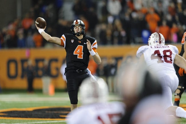 Oct 26, 2013; Corvallis, OR, USA; Oregon State Beavers quarterback Sean Mannion (4) throws the ball during the 2nd half against the Stanford Cardinal at Reser Stadium. Stanford defeated Oregon State 20-12. Mandatory Credit: Steven Bisig-USA TODAY Sports