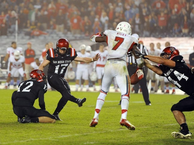 Oct 26, 2013; San Diego, CA, USA; San Diego State kicker Seamus McMorrow (17) misses a game-winning field goal attempt in the fourth quarter against the Fresno State Bulldogs at Qualcomm Stadium. Mandatory Credit: Christopher Hanewinckel-USA TODAY Sports