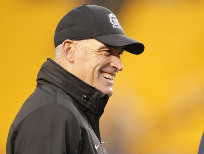 Oct 19, 2013; Pittsburgh, PA, USA; Old Dominion Monarchs head coach Bobby Wilder reacts on the field before playing the Pittsburgh Panthers at Heinz Field. Pittsburgh won 35-24.  Mandatory Credit: Charles LeClaire-USA TODAY Sports