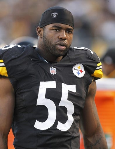 Oct 20, 2013; Pittsburgh, PA, USA; Pittsburgh Steelers linebacker Stevenson Sylvester (55) looks on from the sidelines against the Baltimore Ravens during the second quarter at Heinz Field. The Steelers won 19-16. Mandatory Credit: Charles LeClaire-USA TODAY Sports