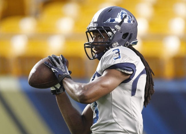 Oct 19, 2013; Pittsburgh, PA, USA; Old Dominion Monarchs wide receiver Marquel Thomas (3) on the field before playing the Pittsburgh Panthers at Heinz Field. Pittsburgh won 35-24.  Mandatory Credit: Charles LeClaire-USA TODAY Sports