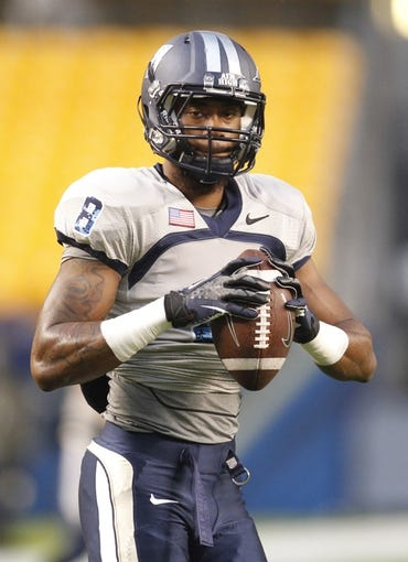 Oct 19, 2013; Pittsburgh, PA, USA; Old Dominion Monarchs wide receiver Blair Roberts (8) on the field before playing the Pittsburgh Panthers at Heinz Field. Pittsburgh won 35-24.  Mandatory Credit: Charles LeClaire-USA TODAY Sports
