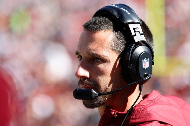 Oct 20, 2013; Landover, MD, USA; Washington Redskins offensive coordinator Kyle Shanahan watches from the sidelines against the Chicago Bears at FedEx Field. Mandatory Credit: Geoff Burke-USA TODAY Sports