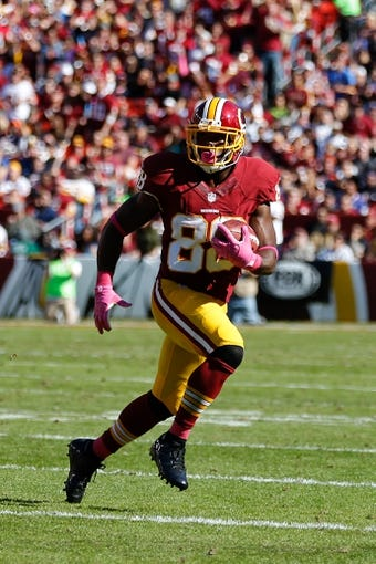 Oct 20, 2013; Landover, MD, USA; Washington Redskins wide receiver Pierre Garcon (88) runs with the ball against the Chicago Bears at FedEx Field. Mandatory Credit: Geoff Burke-USA TODAY Sports