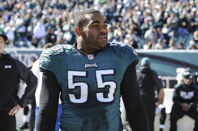 Oct 27, 2013; Philadelphia, PA, USA; Philadelphia Eagles linebacker Brandon Graham (55) before the game between the Philadelphia Eagles and New York Giants at Lincoln Financial Field. Mandatory Credit: John Geliebter-USA TODAY Sports