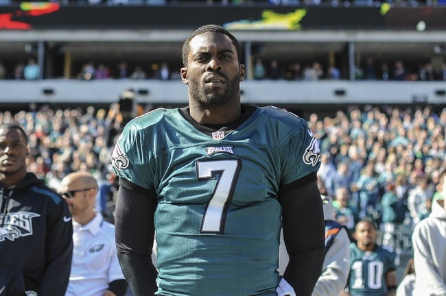 Oct 27, 2013; Philadelphia, PA, USA; Philadelphia Eagles quarterback Michael Vick (7) before the game between the Philadelphia Eagles and New York Giants at Lincoln Financial Field. Mandatory Credit: John Geliebter-USA TODAY Sports