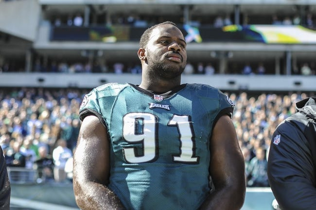 Oct 27, 2013; Philadelphia, PA, USA; Philadelphia Eagles defensive end Fletcher Cox (91) before the game between the Philadelphia Eagles and New York Giants at Lincoln Financial Field. Mandatory Credit: John Geliebter-USA TODAY Sports