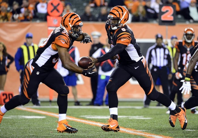 Oct 27, 2013; Cincinnati, OH, USA; Cincinnati Bengals quarterback Josh Johnson (8) hands the ball off to Cincinnati Bengals running back Cedric Peerman (30) during the second half of the game at Paul Brown Stadium. Mandatory Credit: Marc Lebryk-USA TODAY Sports