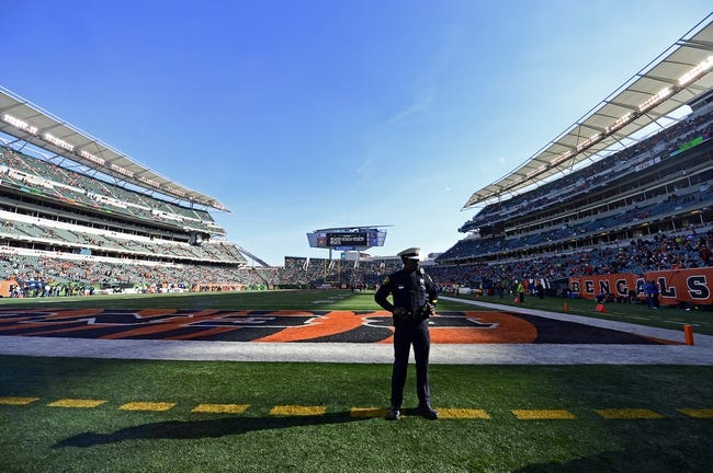 Oct 27, 2013; Cincinnati, OH, USA; A police officer stands on the sidelines before the game at Paul Brown Stadium. Mandatory Credit: Marc Lebryk-USA TODAY Sports