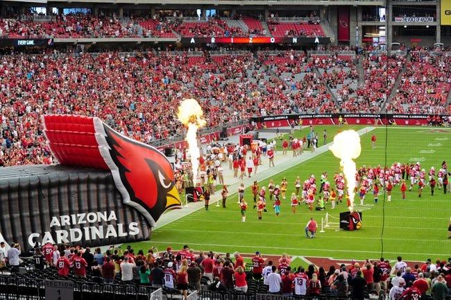 Oct 27, 2013; Phoenix, AZ, USA; The Arizona Cardinals take the field to start the game against the Atlanta Falcons at University of Phoenix Stadium. Mandatory Credit: Matt Kartozian-USA TODAY Sports