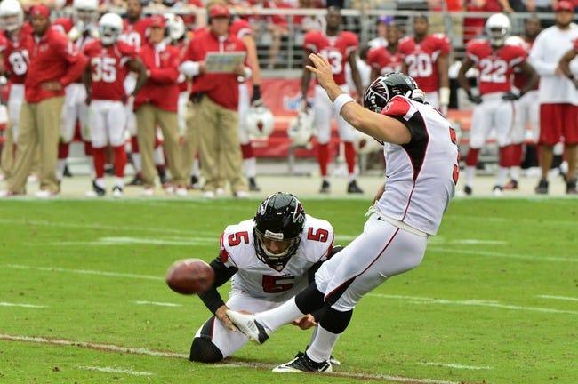 Oct 27, 2013; Phoenix, AZ, USA; Atlanta Falcons kicker Matt Bryant (3) kicks a field goal during the first half against the Arizona Cardinals at University of Phoenix Stadium. Mandatory Credit: Matt Kartozian-USA TODAY Sports
