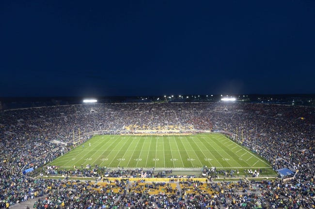 Oct 19, 2013; South Bend, IN, USA; General view of Notre Dame Stadium during the game between the Southern California Trojans and the Notre Dame Fighting Irish. Mandatory Credit: Kirby Lee-USA TODAY Sports