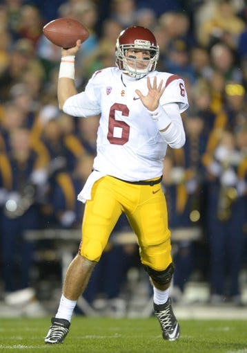 Oct 19, 2013; South Bend, IN, USA; Southern California Trojans quarterback Cody Kessler (6) throws a pass against the Notre Dame Fighting Irish at Notre Dame Stadium. Notre Dame defeated USC 14-10. Mandatory Credit: Kirby Lee-USA TODAY Sports