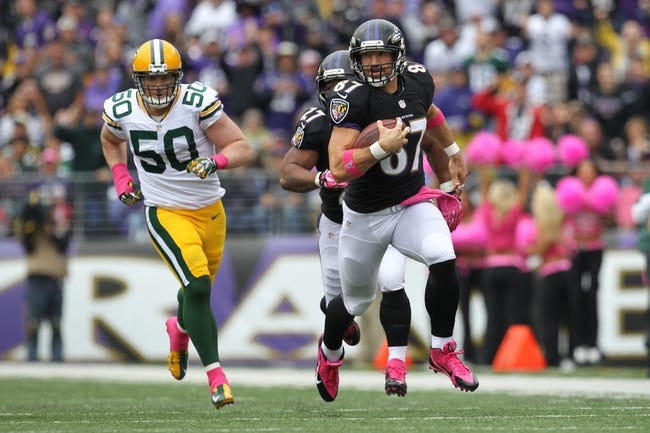 Oct 13, 2013; Baltimore, MD, USA; Baltimore Ravens tight end Dallas Clark (87) runs after a catch from Green Bay Packers linebacker A.J. Hawk (50) at M&T Bank Stadium. Mandatory Credit: Mitch Stringer-USA TODAY Sports