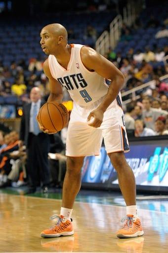 Oct 19, 2013; Greensboro, NC, USA; Charlotte Bobcats guard Gerald Henderson (9) during the game against the Dallas Mavericks at the Greensboro Coliseum. Mavericks win 89-83. Mandatory Credit: Sam Sharpe-USA TODAY Sports