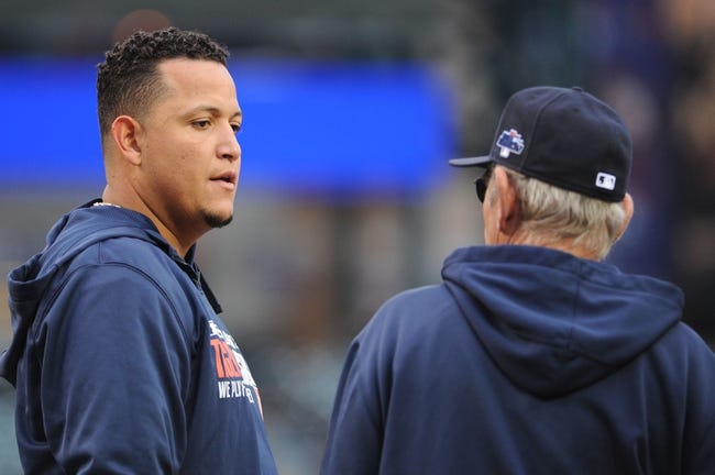 Oct 16, 2013; Detroit, MI, USA; Detroit Tigers third baseman Miguel Cabrera (24) talks to  manager Jim Leyland (10) before game four of the American League Championship Series against the Boston Red Sox at Comerica Park. Mandatory Credit: Tim Fuller-USA TODAY Sports