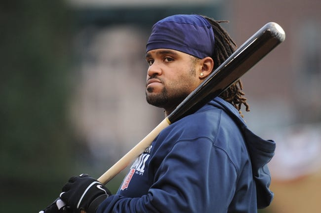 Oct 16, 2013; Detroit, MI, USA;  Detroit Tigers first baseman Prince Fielder (28) before the game four of the American League Championship Series at Comerica Park. Mandatory Credit: Tim Fuller-USA TODAY Sports