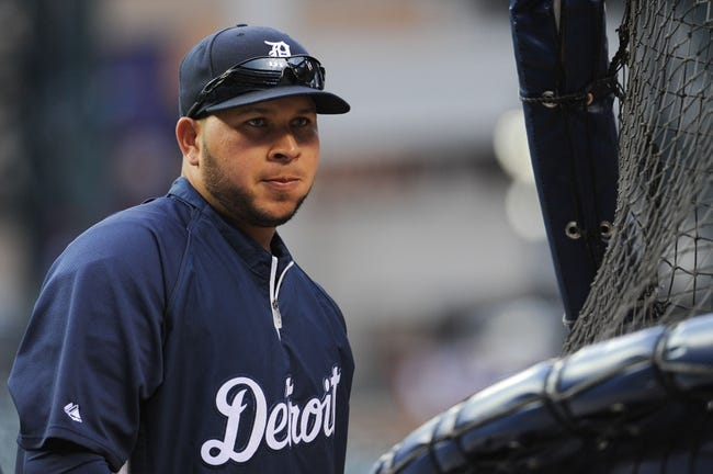 Oct 16, 2013; Detroit, MI, USA; Detroit Tigers shortstop Jhonny Peralta (27) before game four of the American League Championship Series against the Boston Red Sox at Comerica Park. Mandatory Credit: Tim Fuller-USA TODAY Sports