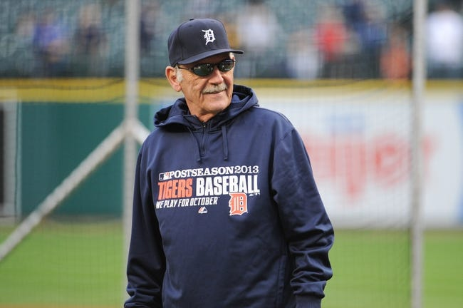 Oct 16, 2013; Detroit, MI, USA;  Detroit Tigers manager Jim Leyland (10) before the game four of the American League Championship Series at Comerica Park. Mandatory Credit: Tim Fuller-USA TODAY Sports