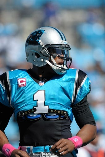 Oct 20, 2013; Charlotte, NC, USA; Carolina Panthers quarterback Cam Newton (1) before the game against the St. Louis Rams at Bank of America Stadium. Panthers win 30-15. Mandatory Credit: Sam Sharpe-USA TODAY Sports