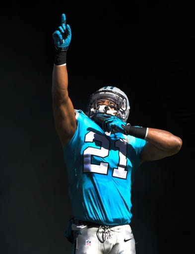 Oct 20, 2013; Charlotte, NC, USA; Carolina Panthers safety Mike Mitchell (21) before the game against the St. Louis Rams at Bank of America Stadium. Panthers win 30-15. Mandatory Credit: Sam Sharpe-USA TODAY Sports